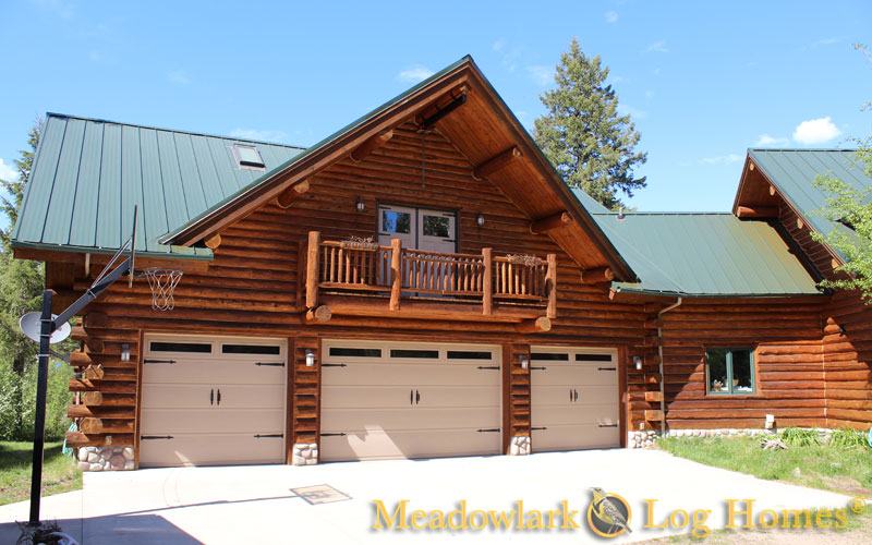 Garages and barns meadowlark log homes for Log home plans with garage