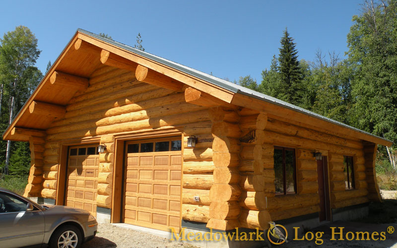 Nice Log Home Garage #6: Garage With Meadowlark Butterfly Saddle Notch Corners