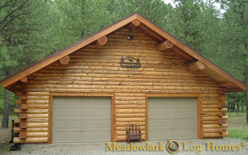Garages and barns meadowlark log homes for Log cabin style garages