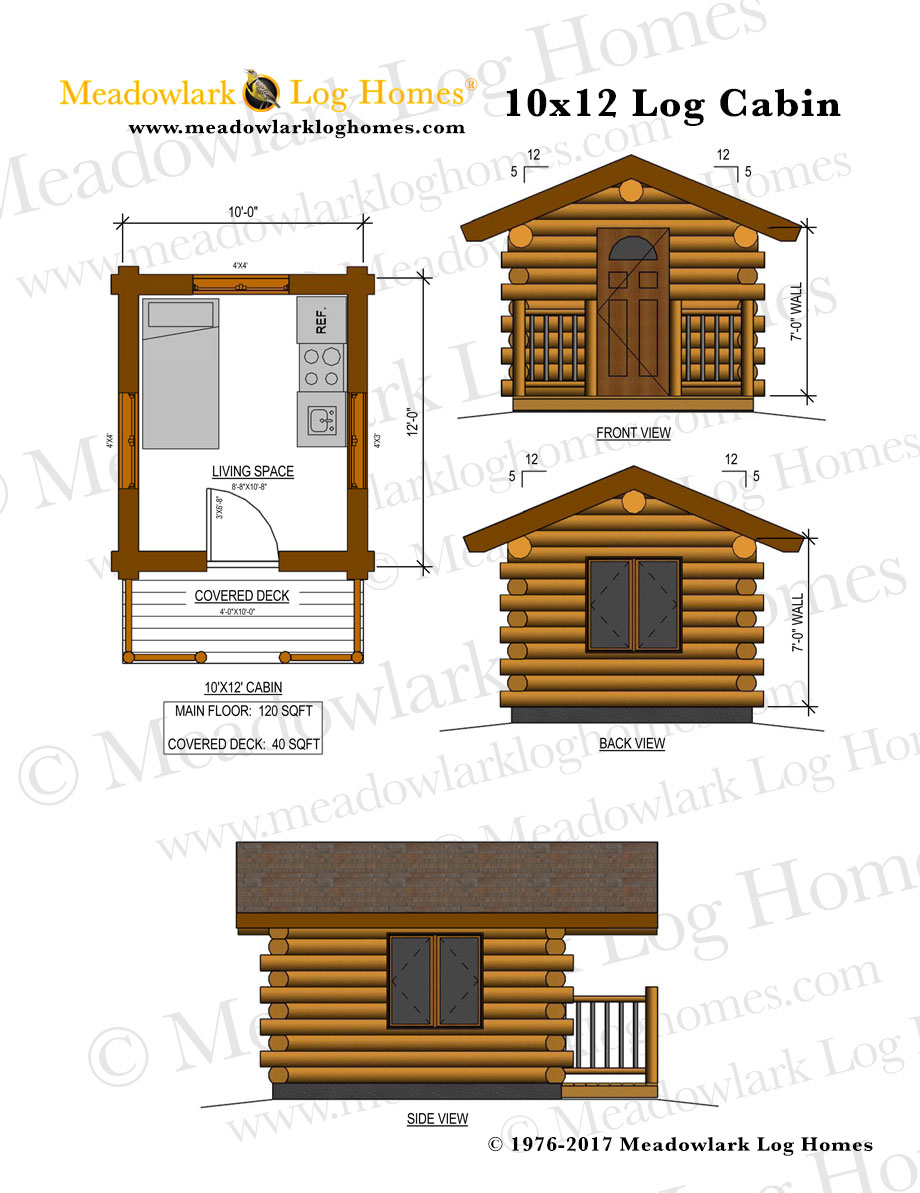 10x12 log cabin meadowlark log homes for Log cabin layout plans