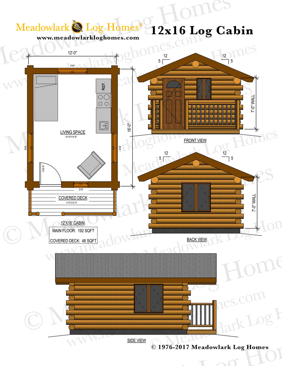 12x16 log cabin meadowlark log homes for Small log cabin plans