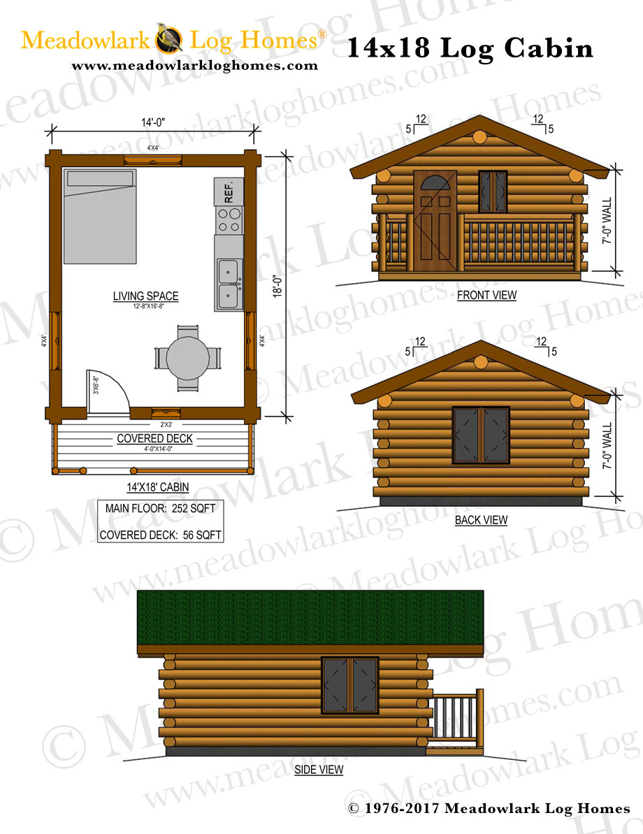 14x18 log cabin meadowlark log homes for Square log cabin plans