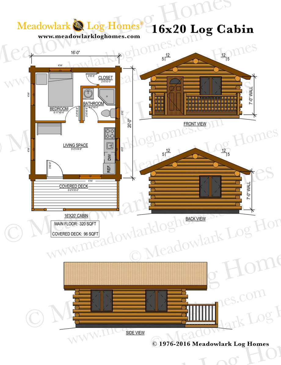 16x20 log cabin meadowlark log homes for Log cabin home floor plans