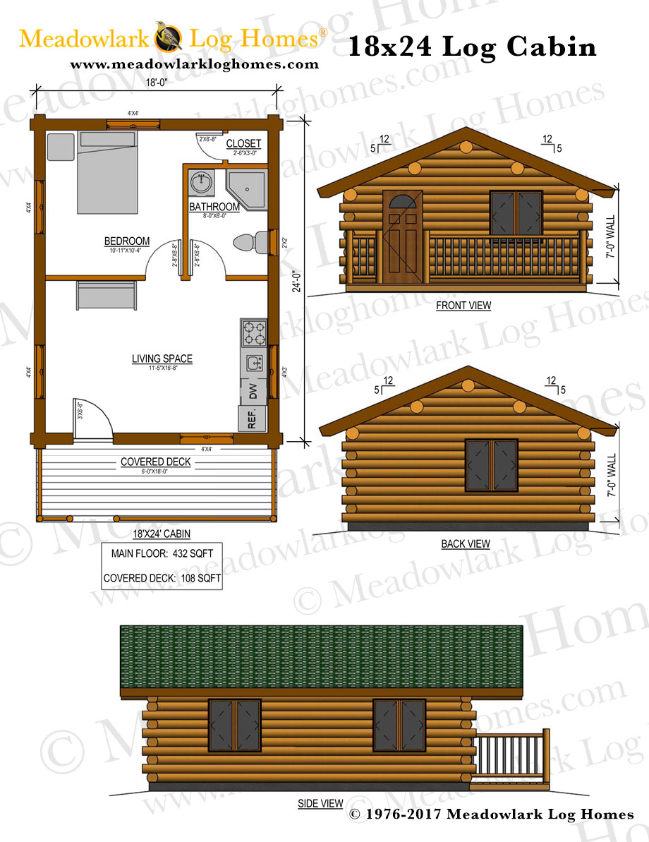 18x24 log cabin meadowlark log homes for Plans for log cabin homes
