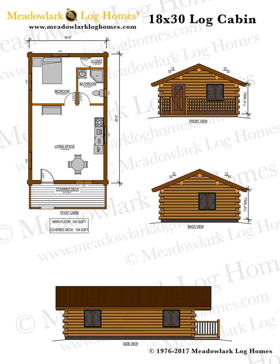 18x30 Log Cabin - Meadowlark Log Homes
