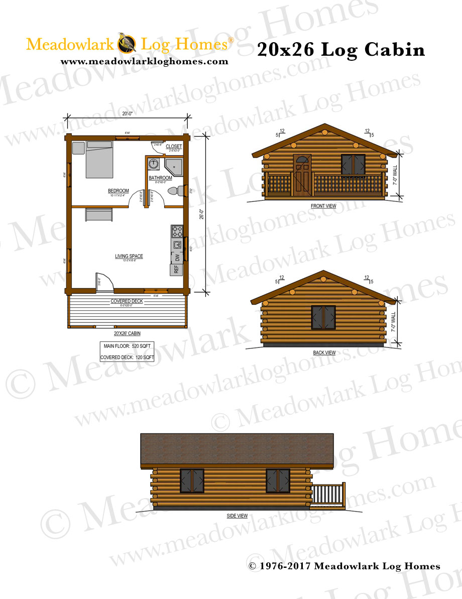 20x26 log cabin meadowlark log homes for Square log cabin plans