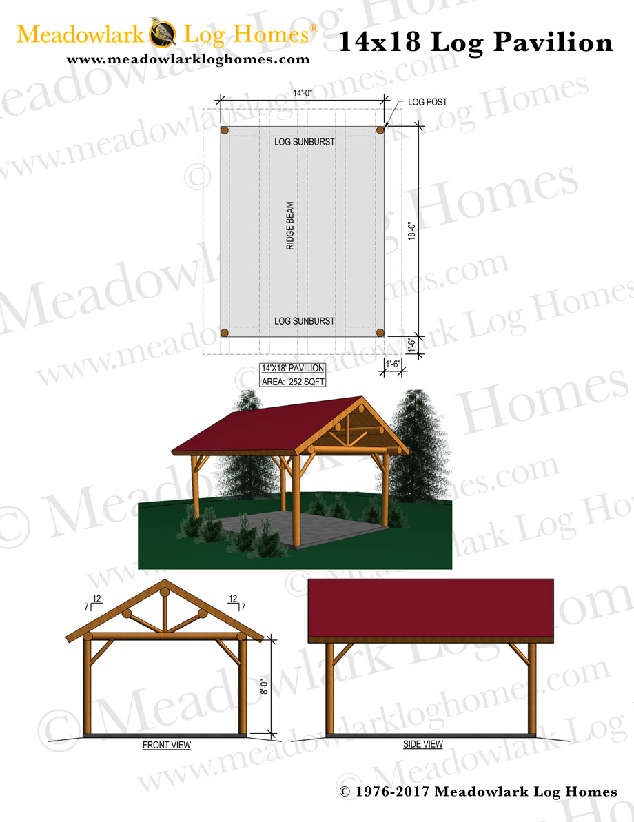 14x18 log pavilion meadowlark log homes for Pavilion blueprints
