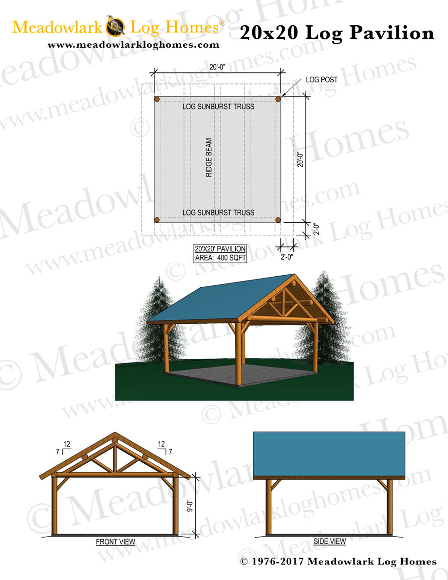 20x20 Log Pavilion Meadowlark Log Homes