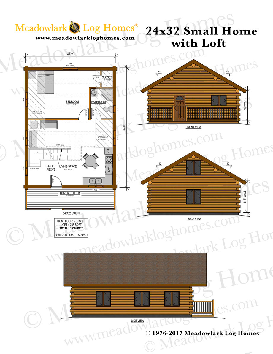 24x32 cabin plans with loft bing images for Log house blueprints
