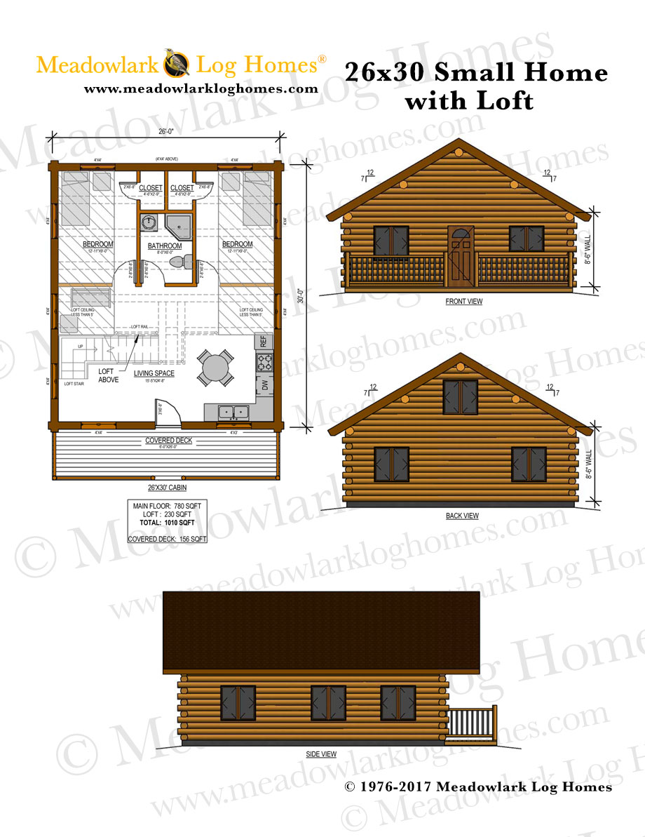 26x30 log home w loft meadowlark log homes. Black Bedroom Furniture Sets. Home Design Ideas