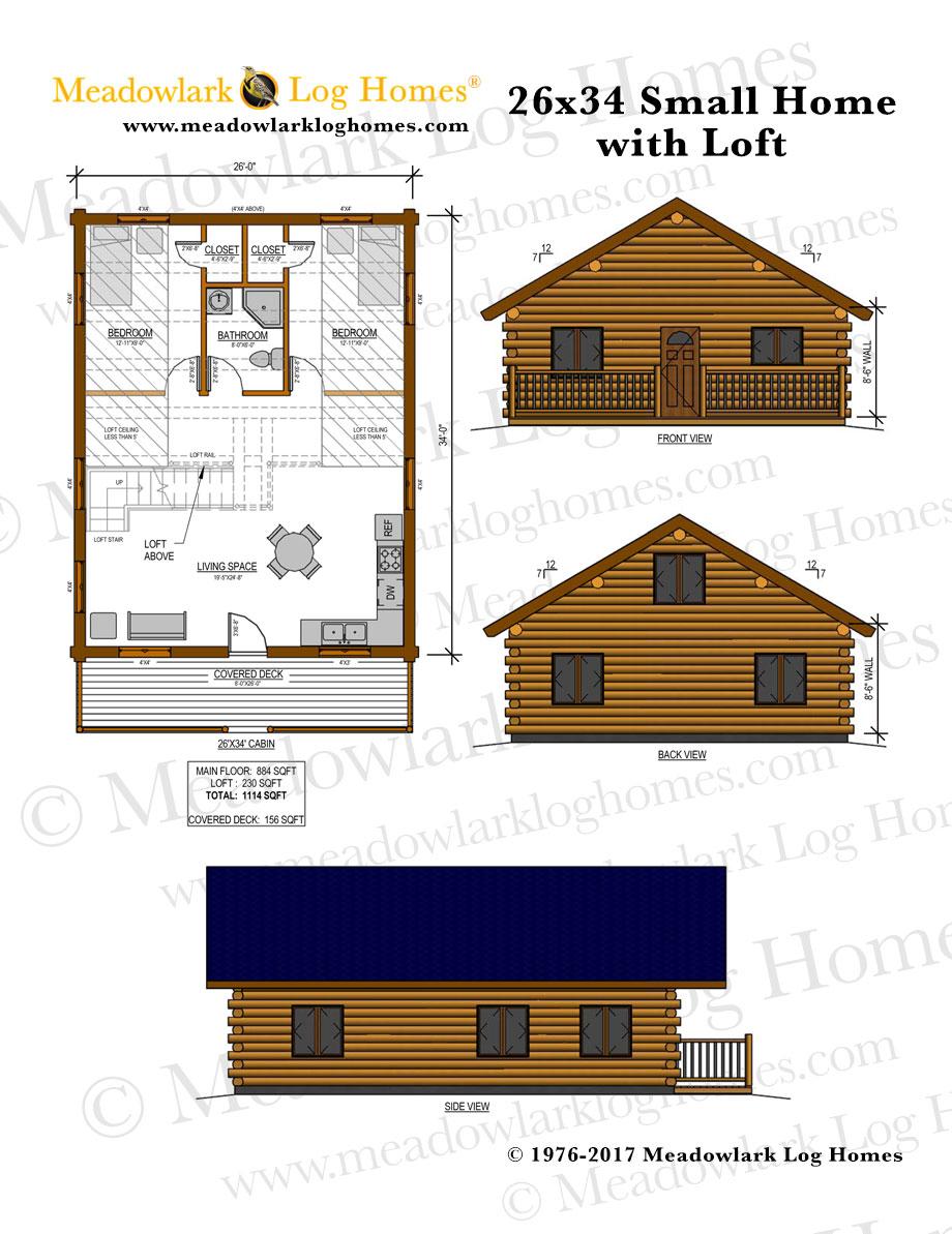 26x34 log home w loft meadowlark log homes for W loft
