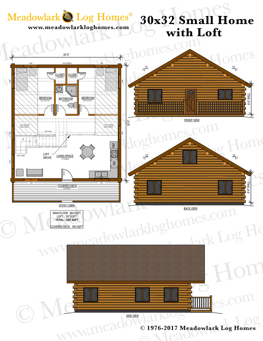 30x32 log home w loft meadowlark log homes for Log cabin plans with loft