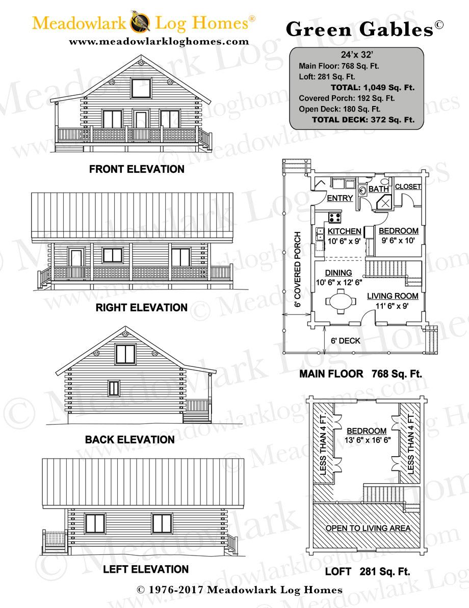 Green gables log cabin meadowlark log homes for Detailed house plans