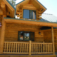 Meadowlark Log Covered Deck Railing