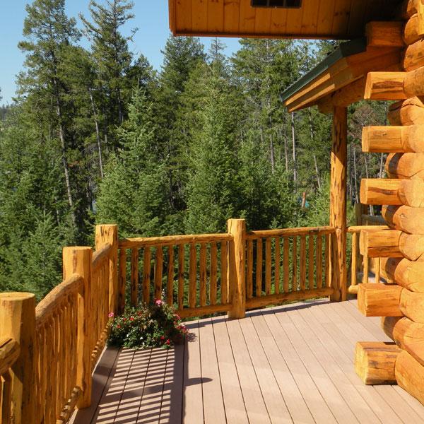 Meadowlark Log Open Deck Railing
