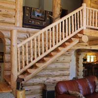 Meadowlark Log Stair Railing