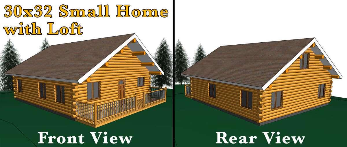 30x32 Log Home W Loft Meadowlark Log Homes