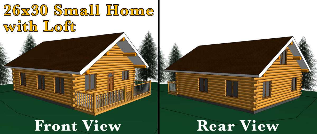 26x30 log home w loft meadowlark log homes Log garage kits with loft
