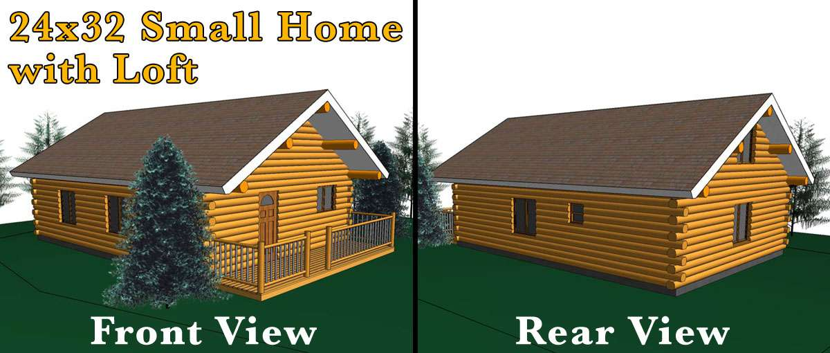 24x32 log home w loft meadowlark log homes Log garage kits with loft