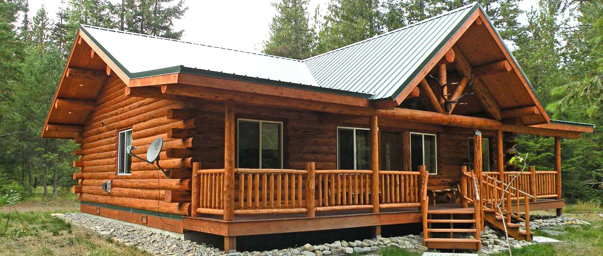 Montana rancher log homestead meadowlark log homes for Ranch style timber frame homes